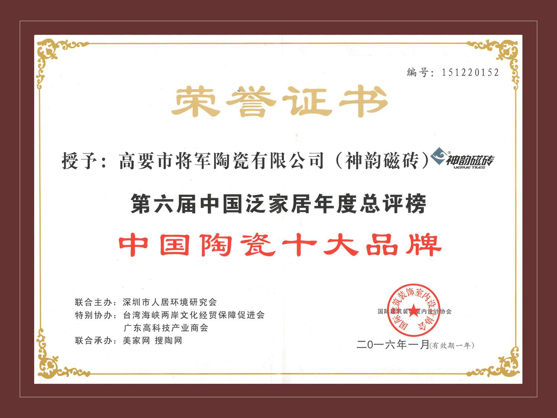 2016-中国陶瓷十大品牌
